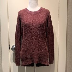 Free Press Maroon High-Low Popcorn Texture Sweater
